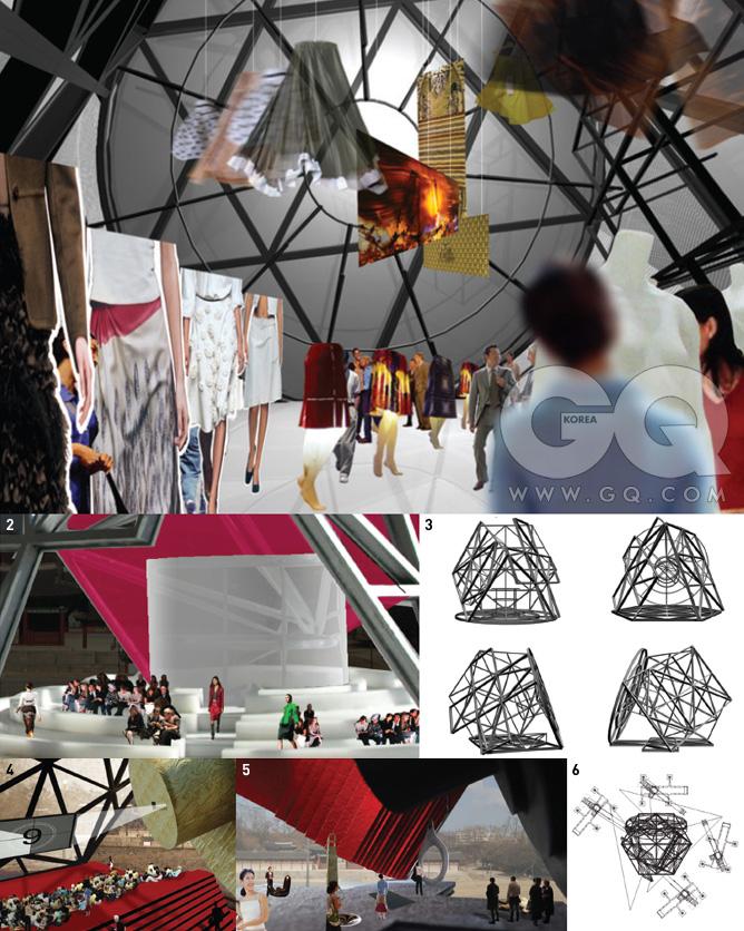 1. 4가지로 변신하는 트랜스포머의내부를 예측한 그림 중 패션 전시.프라다의 역사를 보여주는'웨이스트 다운'스커트 전시회가열리게 된다.2. 패션쇼를 위한 공간 구성도.3. 4면의 기본이 되는 철골 구조.시애틀 시립 도서관처럼각 면들은 사각형이 반복된 철골구조를 벽으로 삼는다.4. 영화를 위한 공간 구성도.패션쇼에서 중요하게 쓰였던 둥근바닥이 프로젝터를 쏘는 벽으로활용된다. 각 면은 영화를 위한공간이지만, 관객들은 3면의 천장을바라봄으로써 각 면이 바닥에위치했던 기간의 행사들을 추억하게된다. 결국 4개의 모든 면은 각각의행사에서 복합적인 역할을 한다.5. 특별 전시를 위한 가상도.6. 크레인 작업 예측도. 트랜스포머는크레인으로 끌어올려진 후, 필요한면이 땅으로 향하도록 공중에서돌려지고, 필요한 위치로 수평 이동한다음 바닥으로 내려가게 된다.