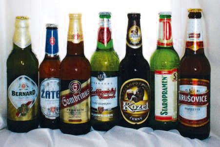왼쪽부터) 베르나드Bernard, 자텍Zatec, 감브리누스Gambrinus, 부드바이저 부드바Budweiser Budvar, 코젤Kozel, 스트라프로멘Staropramen, 크루소비체Krusovice
