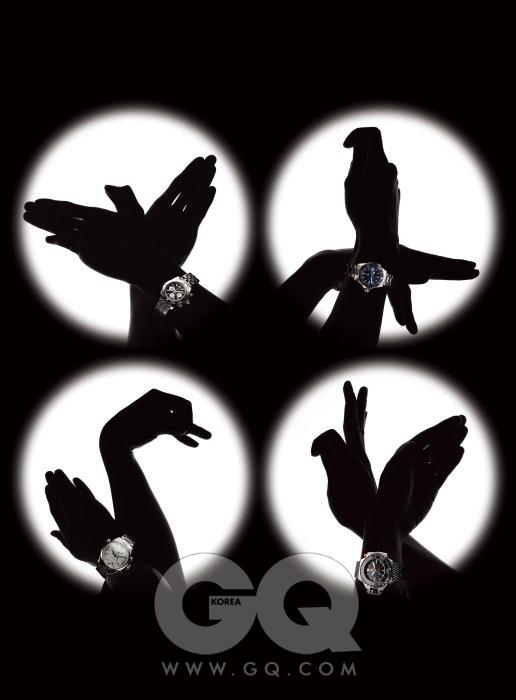 (왼쪽 위부터 시계 방향으로) 새 자사 무브먼트를 탑재한 브라이틀링 최초의 시계. 크로노맷 B01 9백92만원, 브라이틀링. 앵무새 레오나르도 디카프리오가 함께 디자인했다. 아쿠아레이서 500M 3백만원대, 태그호이어. 비둘기 독특한 스크류 인 크라운. 씨마스터플로프로프 1200M 9백만원대, 오메가. 백조 푸른 바다색 핸즈와 은색 다이얼의 조화. 마스터 컬렉션 레트로그레이드 6백80만원, 론진.