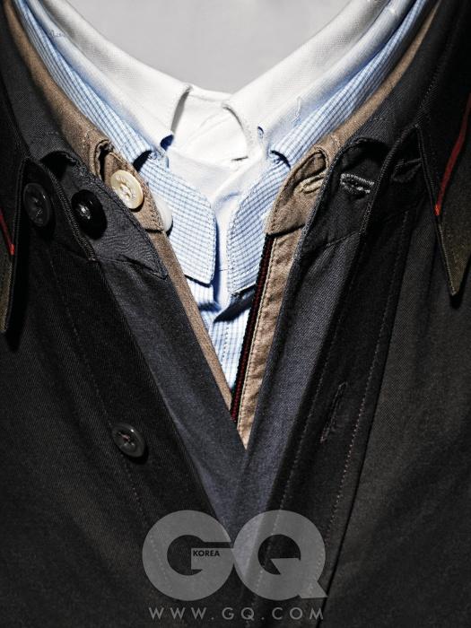 Shirt안쪽부터) 흰색 셔츠 가격 미정, 디올 옴므. 자수 무늬 하늘색 셔츠 40만원대, 프라다. 체크 셔츠 가격 미정 니나 리치 옴므. 베이지색 셔츠 가격 미정, 구찌. 면 셔츠 32만원, 제이 린드버그. 짙은 갈색 셔츠 가격 미정, 구찌.