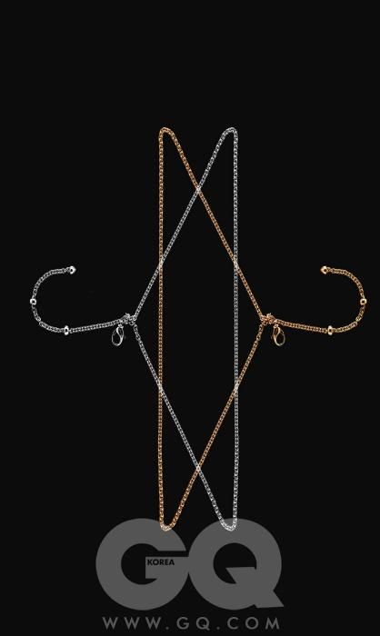 옐로 골드 까데네 체인 3백20만원(70cm), 화이트 골드 까데네 체인 3백60만원(70cm), 모두 불가리.