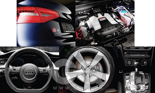 옆에선 휠을, 뒤에선 트렁크 끝을 봐야 한다. S4의 브레이크는 빨간색, A4는 회색이다. S4의 트렁크는 위로 살짝 치켜 올라갔고, A4는 매끈하다. 핸들도 S4는 알파벳 D 모양,