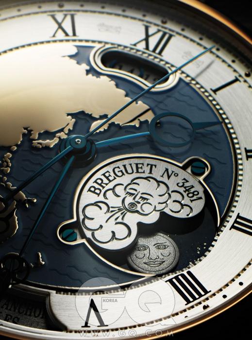 브레게 클래식 5717 오라 문디카시오 지샥이아닌데도, 버튼 한 번눌러서 다른 나라의시간을 확인할 수 있다.8시 방향의 푸시 피스를누르자, 순식간에헨즈가 돌아갔고, 달이지고 해가 떠올랐다.품격 있는 편의란 바로이런 것. 9천만원대.
