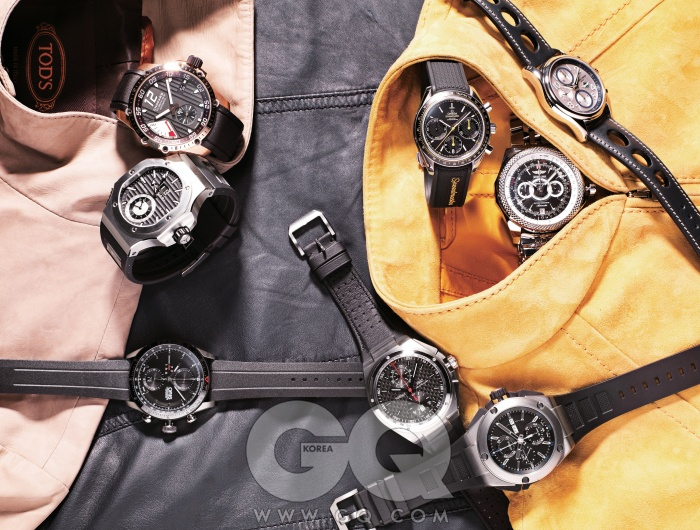 BLOUSON블루종에는 얇아서 부서질 듯 짜증나는 시계보다 극한의 상황도 의연하게 넘길 담대한 시계를 고른다. 그러니까 자동차를 닮은, 기계의 아름다움을 대놓고 말하는 그런 시계들.왼쪽 아래부터 시계 방향으로) 타이어를 연상시키는 개성 있는 아틱스 GT 크로노그래프 3백50만원, 오리스. 극한의 환경에서도 부식되기는커녕 언제나 빛을 내는 앙듀레 크로노스프린트 2천만원대, 불가리. 빈티지 자동차 엔진의 쿨링 팬 모양을 본떠 만든 슈퍼패스트 파워컨트롤 가격 미정, 쇼파드. 타키미터 스케일을 베젤 위로 옮긴 스피드 마스터 레이싱 5백만원대, 오메가. 구멍 낸 가죽 줄의 뒷면을 방수 처리해 여름에도 마음껏 찰 수 있는 힐리 크로노그래프 가격 미정, 프레드릭 콘스탄트. 고성능 무브먼트인 칼리버 13B를 달고 태어난 벤틀리 GT 레이싱 가격 미정, 브라이틀링. 극한의 환경을 위해 제작된 인제니어 더블 크로노그래프 티타늄 가격 미정, IWC. 어떤 속도에도 위축되지 않는 빅 인제니어 크로노그래프 에디션 AMG 45years 가격 미정, IWC. 크림색 스웨이드 블루종, 남색 송아지 가죽 블루종 가격 미정, 모두 토즈. 노란색 스웨이드 블루종 가격 미정, 구찌.