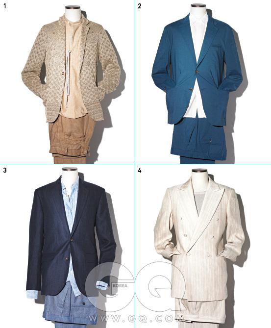 2. COLOR MATCH리넨 수트의 색깔은 햇빛과 바람에 시달린 듯한 것으로 고른다. 청명한 색보단 소재의 질감을 자연스럽게 살린 것으로. 셔츠는 재킷과 비슷한 색깔로 입는다. 1 낙타색 레이스 리넨재킷과 리넨 셔츠가격 미정, 모두미쏘니. 갈색 리넨팬츠 31만8천원,바레나 by샌프란시스코 마켓. 2 푸른색 리넨 수트가격 미정, 흰색 면셔츠 가격 미정,모두 에르메스. 3 짙은 남색 재킷49만8천원, 남색리넨 팬츠 가격미정, 하늘색 리넨셔츠 15만8천원,모두 클럽 모나코. 4 연한 자두색 리넨재킷 1백49만원,팬츠 49만8천원,모두 김서룡 옴므.연회색 저지 톱가격 미정, 클럽모나코.