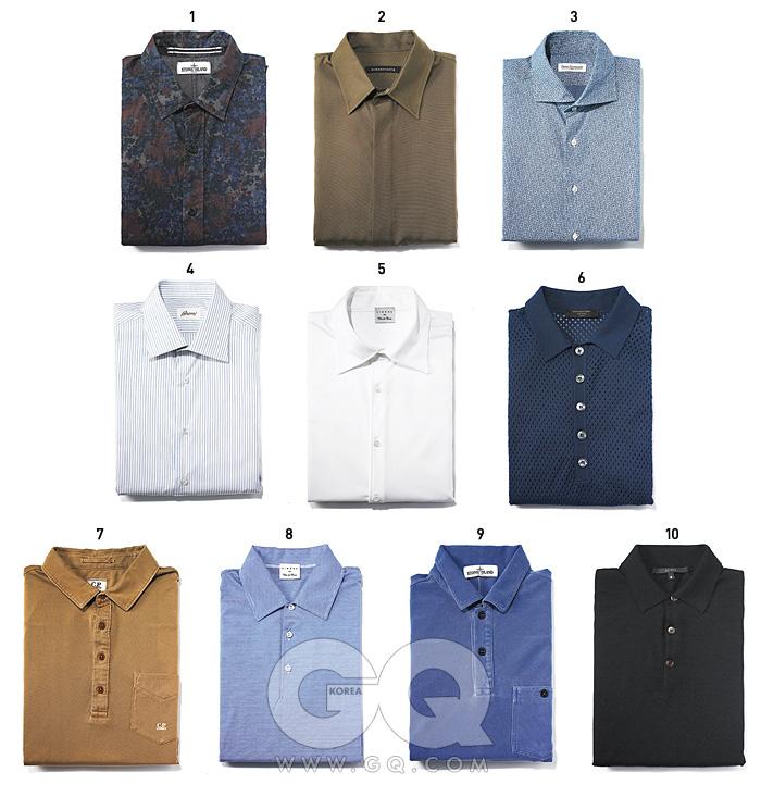 1 카무플라주 면 셔츠 가격 미정,스톤 아일렌드. 2 카키색 실크 셔츠 39만8천원,김서룡 옴므. 3 파란색 꽃무늬 셔츠 21만원,피에트로 프로벤찰레 by 샌프란시스코 마켓. 4 파란색 줄무늬 면 셔츠 98만원,브리오니. 5 흰색 셔츠 48만원,시모나 by 빌라 델 코리아. 6 실크와 면이 섞인 메시 피케 셔츠 가격 미정,에르메네질도 제냐. 7 낙타색 면 피케 셔츠 가격 미정,CP. 컴퍼니. 8 파란색 줄무늬 피케 셔츠 38만원,시모나 by 빌라 델 코리아. 9 파란색 면 피케 셔츠 가격 미정,스톤 아일렌드. 10 검정색 캐시미어 피케 셔츠 가격 미정,구찌.