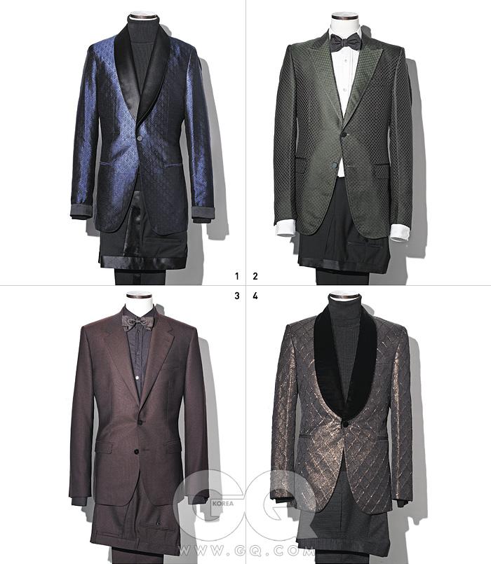 1 파란색 실크재킷과 이브닝팬츠 가격 미정,모두 루이 비통.검정색 울터틀넥 가격미정, 김서룡옴므. 2 레이온과실크를 섞은짙은 초록색이브닝 재킷, 울팬츠, 핀턱 셔츠,보타이 가격미정, 모두 구찌. 3 광택이 있는묵직한 와인색수트, 면 셔츠,보타이 가격미정, 모두돌체 & 가바나. 4 금실과 벨벳으로멋을 낸 이브닝재킷 1백39만원,팬츠 59만8천원,울 터틀넥 가격미정, 모두김서룡 옴므.