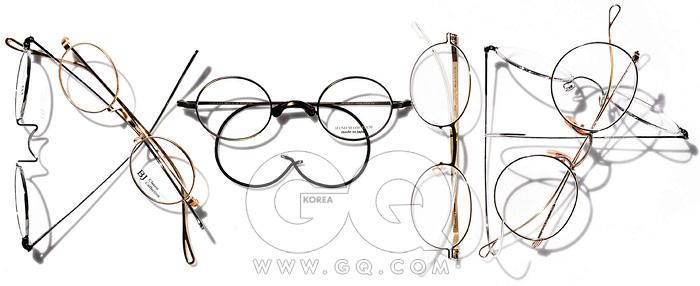 왼쪽부터) 은색과 금색안경 각각 39만원, BJ클래식 by 엠투아이티시.검정색 안경 32만5천원,노바 by 엠투아이티시.타원형 안경 65만원,마이키타. 은색과 금색안경 가격 미정, 모두레트로스펙스.