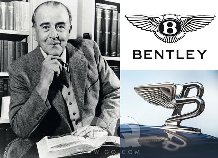 벤틀리 모터스의 창업자 월터 오웬벤틀리와 벤틀리 차량에 쓰이는 두가지의 호쾌한 로고.