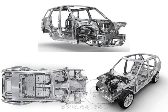 레인지로버 스포츠의 차체를 이루는 알루미늄 모노코크 보디.