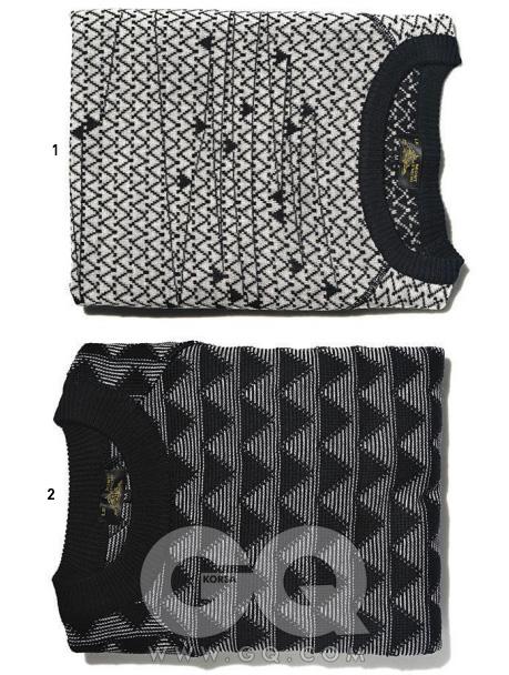 1 조밀하게 짠 회색 스웨터 31만5천원, 몽 생 미셸 by Pbab.2 기하학적인 문양으로 짠 스웨터 37만8천원, 몽 생 미셸 by Pbab.