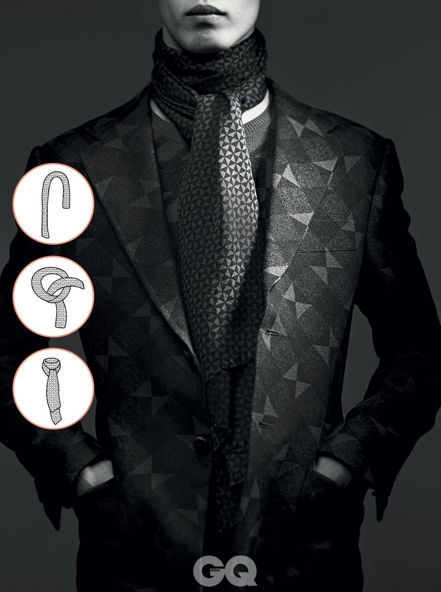 체크무늬 수트와 니트, 스카프 가격 미정, 모두 에르메네질도 제냐.
