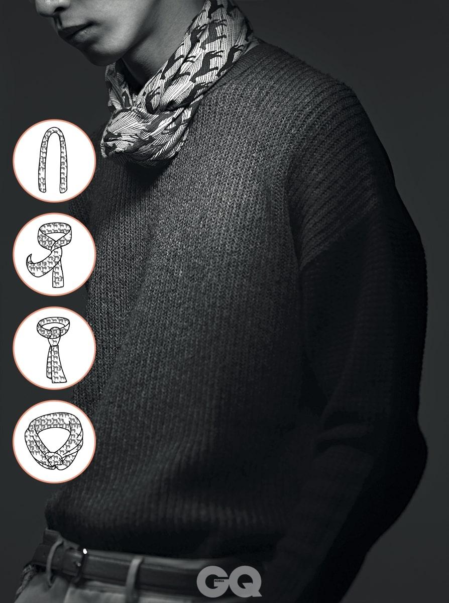 회색 니트 가격 미정, 올세인츠. 팬츠 가격 미정, 보테가 베네타. 벨트 가격 미정, 프라다. 말 무늬 스카프 가격 미정, 에르메스.