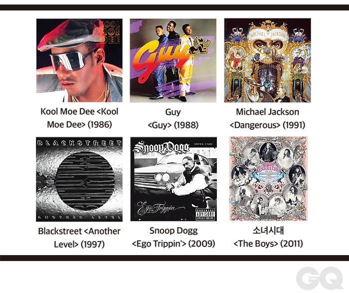 Kool Moe Dee 'Kool Moe Dee' (1986) 저명한 올드스쿨 그룹 T3의 쿨 모 디는 솔로 음반에 17세이던 테디 라일리를 과감히 기용해 'Go See The Doctor'를 발표했다. Guy 'Guy' (1988) 테디 라일리를 주축으로 결성한 가이의 첫 음반. 뉴 잭 스윙의 모범 같은 음악이 들어 있으며, 2백만 장 이상 팔렸다. Michael Jackson 'Dangerous' (1991) 퀸시 존스와 결별한 마이클 잭슨은 'Thriller'나 'Bad'와는 다른 음반을 만들고 싶어 했고, 테디 라일리에게 7곡을 맡겼다. Blackstreet 'Another Level' (1997) 테디 라일리 경력의 정점이자, 블랙스트리트 음반 중 가장 성공한 앨범. 'No Diggity'는 4주간 빌보드 1위에 올랐다. Snoop Dogg 'Ego Trippin' (2009) 6곡을 썼고, 최근작 중 테디 라일리 고유의 색이 가장 잘 드러난 음반이다. 스눕 독, 디제이 퀵과 QDT란 유닛을 만들기도 했다. 소녀시대 'The Boys' (2011) 'The Boys'로 소녀시대가 미국 시장에 진출했다. 이후 테디 라일리는 샤이니의 '아름다워', EXO의 'What is Love' 등에도 참여했다.