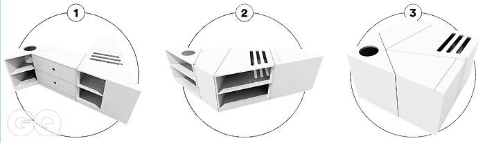 1. 주방이 넓다면, 길게 펼쳐 아일랜드형으로 쓸 수 있다.2. 사이드보드 형태로 벽에 붙여놓고 쓸 수도 있다.3. 정사각형으로 접어, 간이 테이블로도 활용 가능하다
