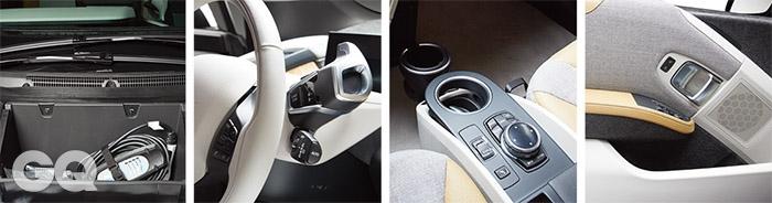 보닛을 열어도 엔진은 보이지 않는다. 대신 220볼트 전압을 사용할 수있는 비상용 충전기가 가지런히 감겨 있다. 아주 색다른 디자인이면서 공기저항에도 도움이 된다. 핸들에서 조작할 수 있는 기능은 다른 여느 차와 다르지 않다. 다만 산뜻하게, 미래에 대한 강박 없이 아름다운 디자인은 갖고 싶은 마음만을 담백하게 자극한다. 엔진과 변속기가 없으니 운전석과 조수석 사이에 이런 공간이 생겼다.