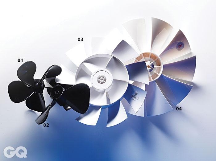 1. 보네이도 브이 팬의 5엽 날개. 1945년 출시한 보네이도 최초의 공기순환기 모양을 복각해서 만들었다. 2. 보네이도 공기순환기 633의 강력한 3엽 날개. 강력한 소용돌이를 만들어 최대 25미터까지 바람을 보낼 수 있다. 3. 발뮤다 그린 팬의 14엽 날개. 안쪽에 다섯 개, 바깥쪽에 아홉 개의 날개로 아주 부드럽고 끊기지 않는, 자연풍과 비슷한 바람을 낸다. 소음은 13db로 아주 조용하다. 4. 미코노스 에어로 팬의 10엽 날개. 가운데는 두껍고 끝은 얇게 만들어 역회전으로도 바람을 만들 수 있다.