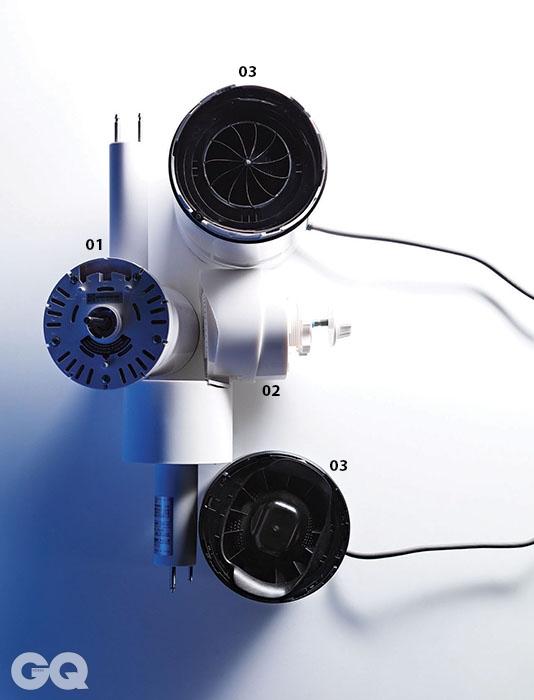 1. 발뮤다 그린 팬의 모터. 브러시리스 DC 모터를 사용해 최저 3와트밖에 사용하지 않는다. 2. 미코노스 에어로 팬 모터. 위로 향하면 공기순환기, 앞으로 꺾으면 선풍기로 사용할 수 있다. 일본전산에서 만든 DC모터다. 3. 다이슨 에어 멀티플라이어 모터. 브러시리스 DC모터이며 이전 모델보다 소음을 많이 줄였다.