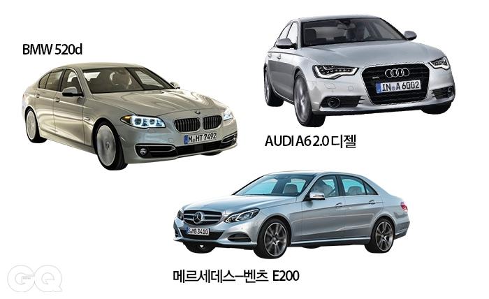 BMW 520d 6천2백90만원~ 6천9백60만원. AUDI A6 2.0 디젤 5천8백50만~ 6천2백30만원. 메르세데스-벤츠 E200 6천30만원.