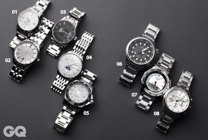 01 말끔한 디자인이 돋보이는 시계 하이 비트 8백50만원, 그랜드 세이코. 02 메탈 소재로 만든 시계 31만5천원, 루이까또즈 by 갤러리어클락. 03 요일과 날짜 창을 함께 볼 수 있는 시계 벨루나 1백44만원, 미도.04 스테인리스 스틸 소재로 만든 시계 3백92만원, 융한스. 05 오토매틱 칼리버 무브먼트를 장착한 시계 하이드로 콘퀘스트 가격 미정, 론진. 06 20기압 방수 가능한 시계 제이-프로마스터 67만원, 시티즌.07 다이버 로그 북 기능을 첨가한 시계 씨-터치 1백17만원, 티쏘. 08 정교한 기술력으로 만든 시계 카키 파일럿 오토 크로노 2백36만원, 해밀턴.