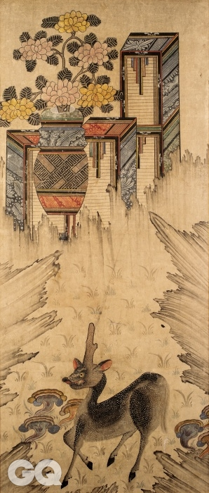 <책거리와 서수>, 4폭 중 1, 3폭, 19세기, 종이에 채색, 각 110×43cm, 프랑스 기메동양박물관.