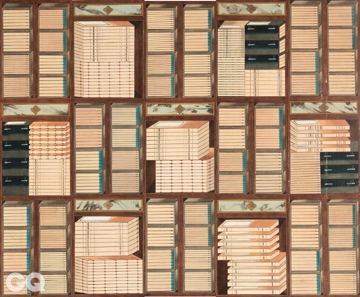 <책가도>, 10폭 병풍, 19세기 후반~20세기 전반, 종이에 채색, 각 161.7×39.5cm, 국립고궁박물관.