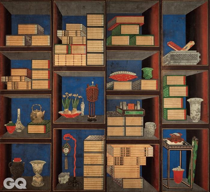 <책가도>, 10폭 병풍 중 3~6폭, 19세기, 비단에 채색, 143×384cm, 개인소장.