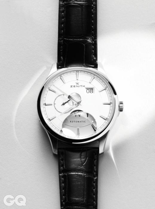 시계를 위한 성소에서 찾은 보물, 아름다운 시계들의 북극성. 1952년의 캡틴 라인을 거의 그대로 되살리고 직경만 40mm로 조금 키웠다. 명정한 시계를 위한 기준을 제시하는 엘리트 문페이즈 9백84만원, 제니스.