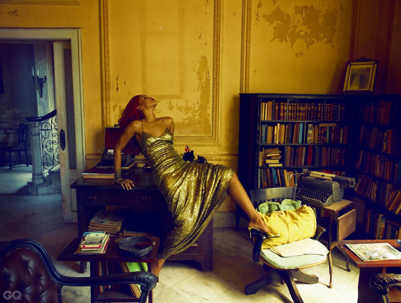 RUN THIS GOWN          Rihanna takes a break in the Josie Alonso House, on Calzada Street, in Havana's Vedado neighborhood.