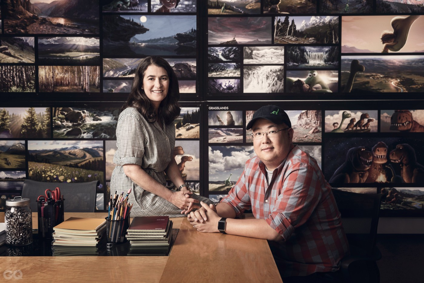 relates to feature, How Pixar embraces a crisis, Business, animation, film industry, Pixar producer Denise Ream sits on desk, Director Pete Sohn sits on chair, conceptual art behind, desk office