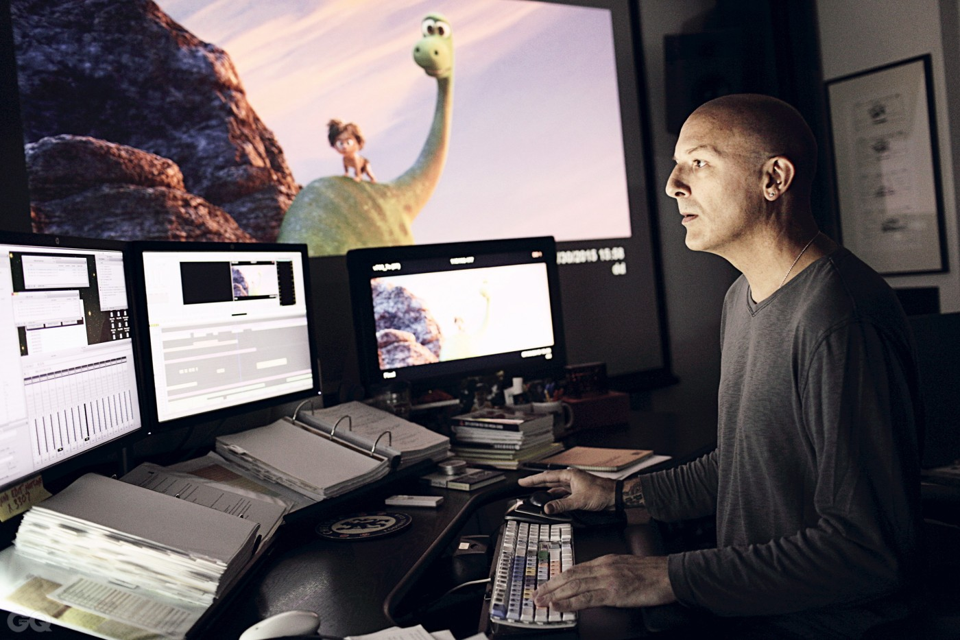 """Film Editor Stephen Schaffer works on a sequence from """"The Good Dinosaur"""" in his office, as seen on July 31, 2015 at Pixar Animation Studios in Emeryville, Calif. (Photo by Deborah Coleman / Pixar) ?ƒ2015 Disney??¡ËPixar. All Rights Reserved."""