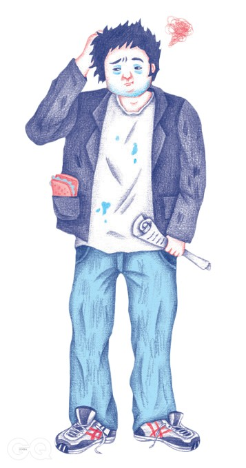 T-shirt that isn't even really a colorForgotten ham sandwich in sport-coat pocketRunning shoes that have never been run inSlouchy jeans that say ¡°Dressing up is for suits and the talentless¡±