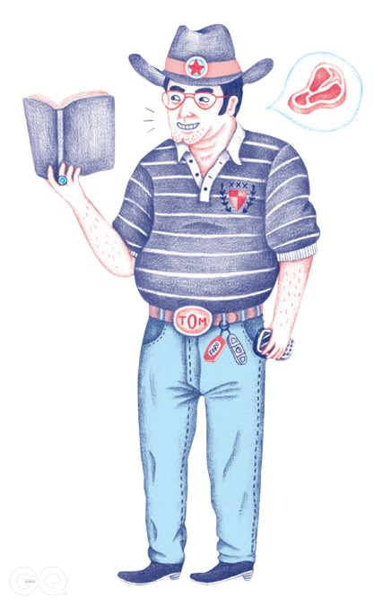 Steak bellyCigar-cutter key chainWrangler jeans, clean and stiffPolo with country-club crest and elbow-length sleeves¡ªthe capri pants of shirtingCowboy boots for proper oil-baron street cred