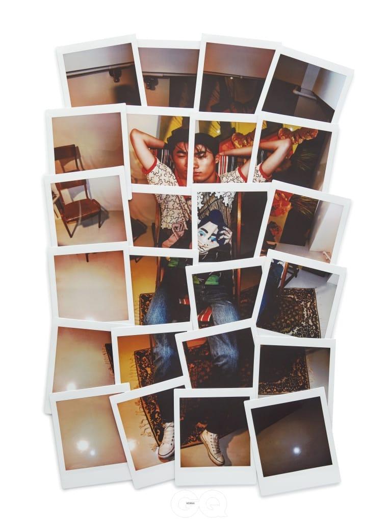 퍼즐 무늬 피케 셔츠 48만원, J.W.앤더슨 by 10 꼬르소 꼬모. 청바지 가격 미정, 루이 비통. 가죽 벨트 30만원대, 발렌시아가. 빈티지 운동화는 에디터의 것