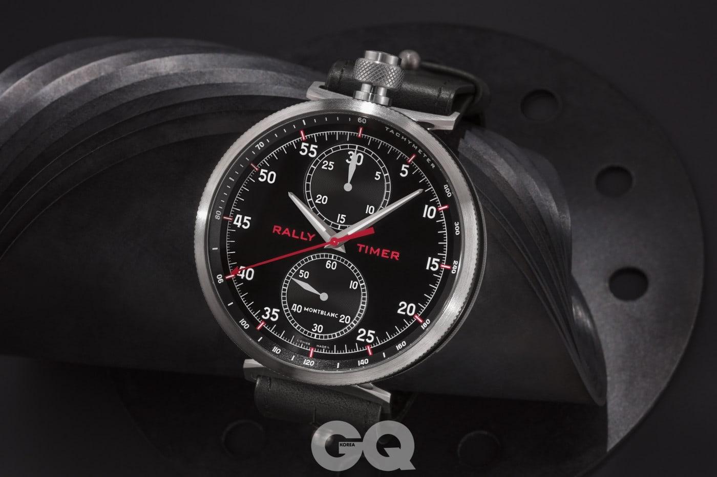 미네르바의 랠리 타이머 스톱워치에서 영감받아 만든 몽블랑 타임워커 크로노그래프 랠리 타이머 카운터 리미티드 에디션 100. 손목 시계과 회중 시계 두 가지로 변형이 가능하다.