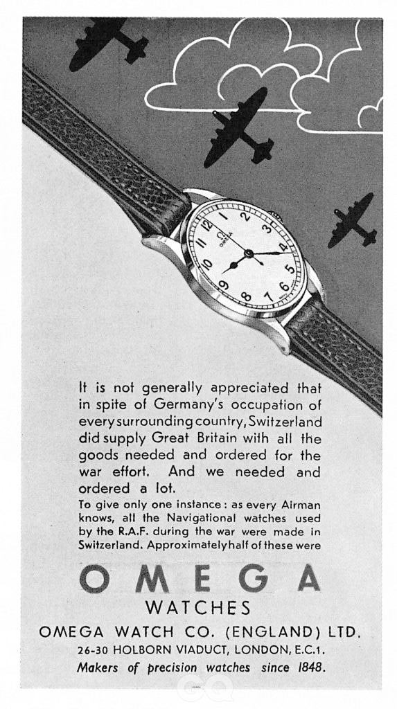 1945년의 오메가 워치 광고. 전투기 조종사가 착용한다는 이미지를 강조했다.