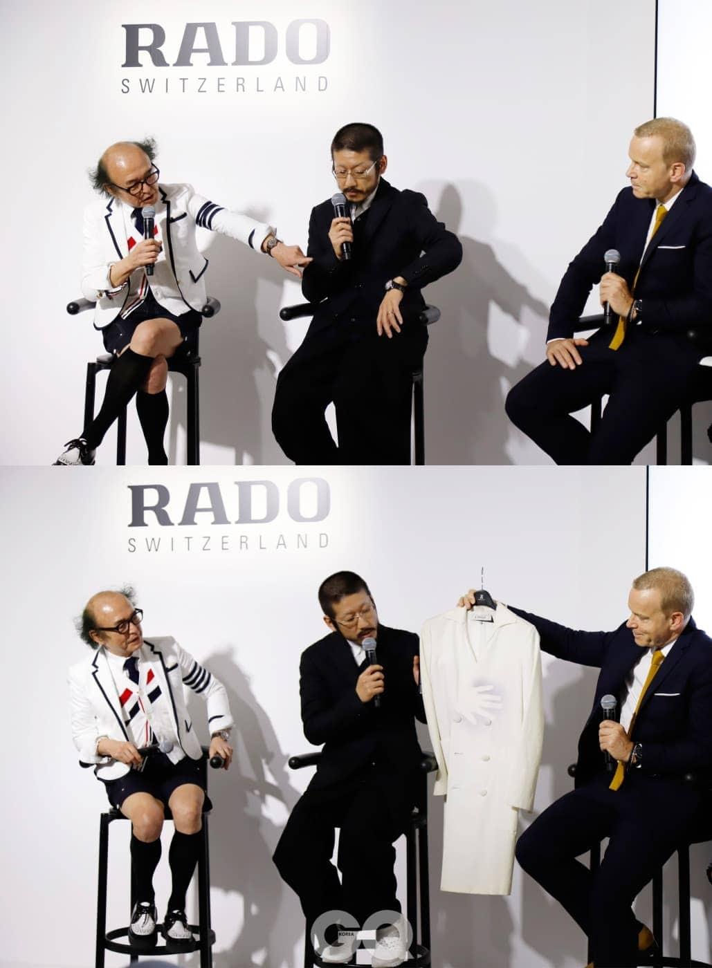 (왼쪽부터)  편집장 마사후미 스즈키, 라도 트루 섀도우를 디자인한 일본 패션 디자이너 쿠니히코 모리나가, 라도 CEO 마티아스 브레스찬이 참여한 토크쇼. 시계에 대한 다양한 관점의 이야기와 포토크로믹 소재에 관한 설명을 들을 수 있었다.