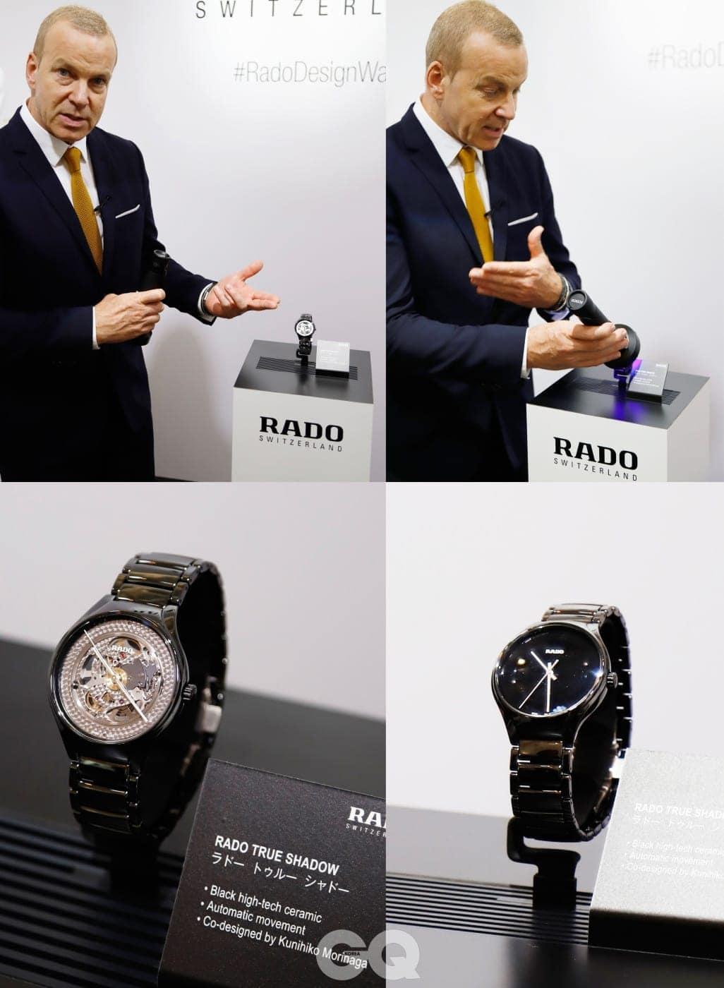 독자들을 위해 라도 트루 섀도우 시계에 대한 프레젠테이션을 직접 해 준 라도 CEO 마티아스 브레스찬. 자외선을 쐬면 사진과 같이 시계 다이얼이 변한다.