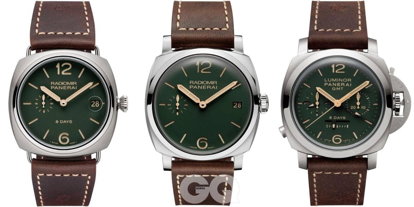 (왼쪽부터) 짙은 초록색 다이얼을 적용한 라디오미르 8 데이즈 티타니오-45mm PAM00735, 라디오미르 1940 3 데이즈 아치아이오-47mm PAM00736, 루미노르 1950 크로노 모노폴산테 8 데이즈 GMT 티타니오-44mm PAM00737 그린 다이얼 부티크 스페셜 에디션의 모습.