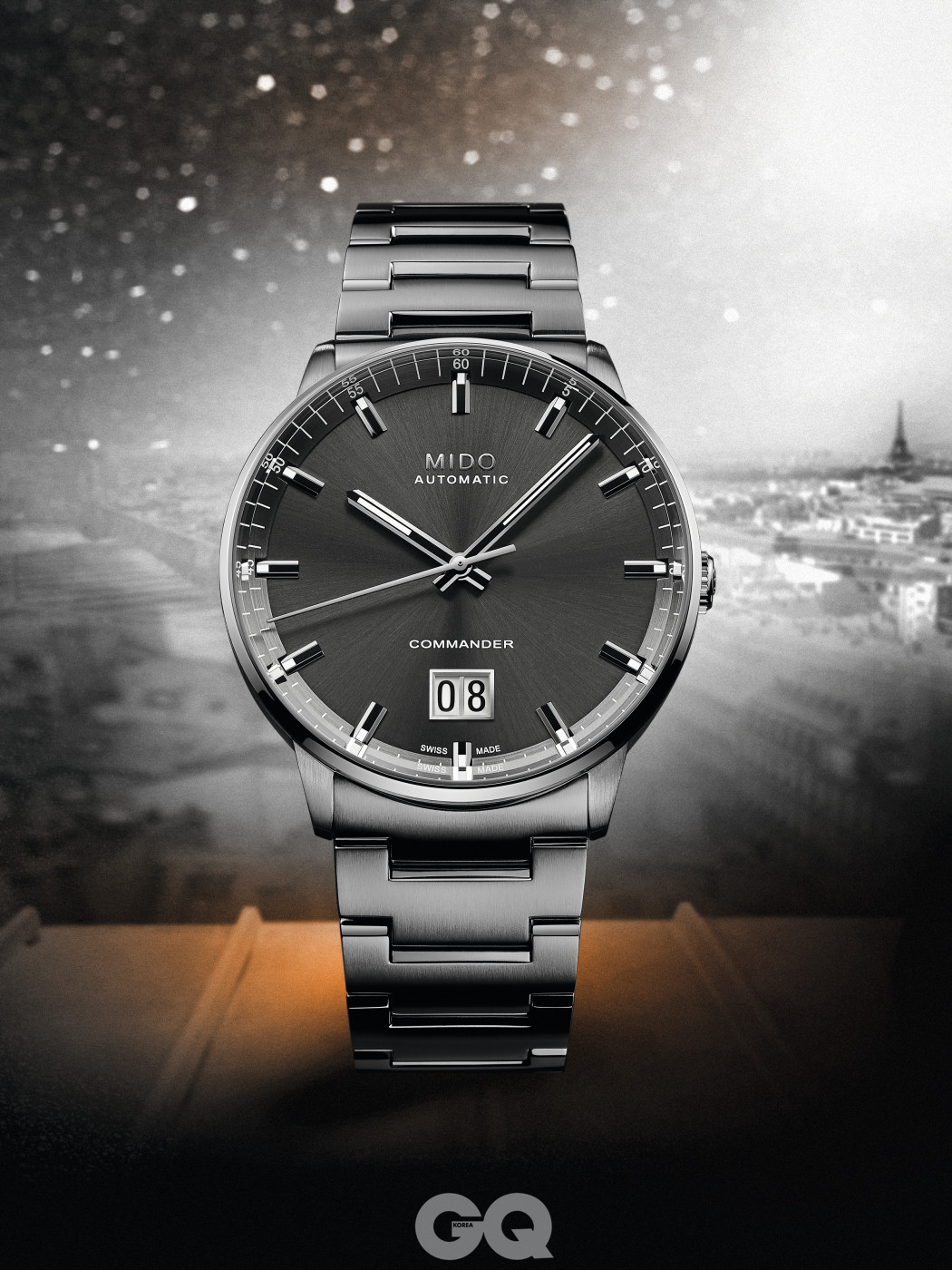파리의 랜드마크 에펠탑에서 영감을 받아 디자인한 미도 100주년 기념 모델 '커맨더 빅 데이트'.