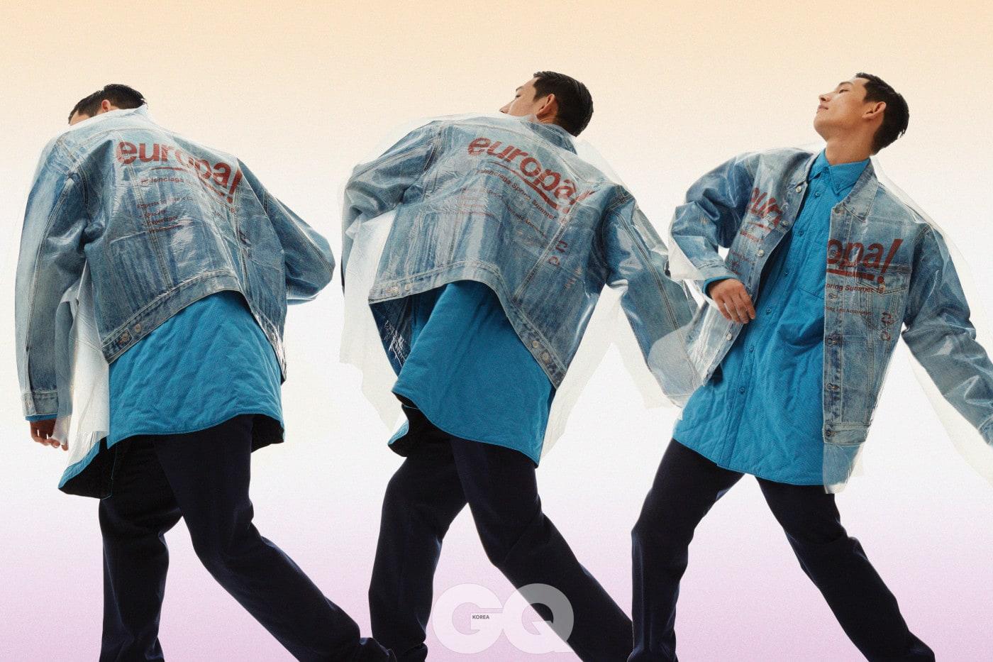 드라이클리닝 커버 데님 재킷, 패딩 셔츠, 팬츠 가격 미정, 모두 발렌시아가.