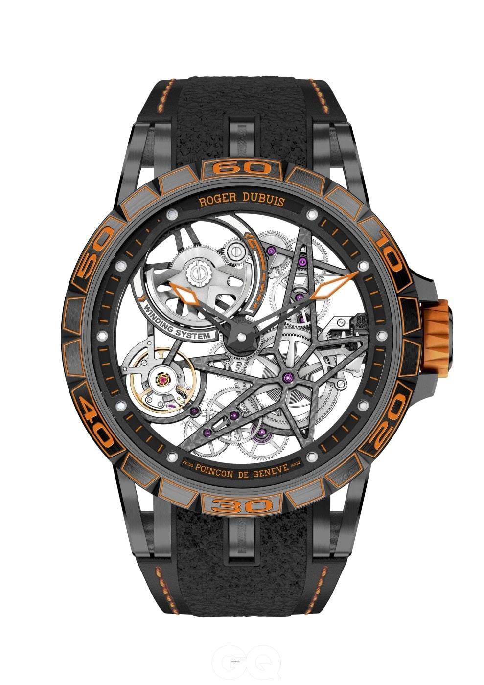매우 손쉽게 스트랩을 교환할 수 있는 이 시계는 평균 3초 만에 타이어 교환이 이루어지는 F-1 레이싱에서 영감을 받았다.